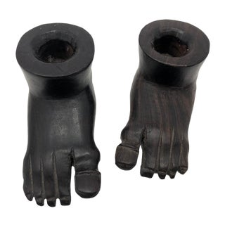 Vintage Hand-Carved Ebony Foot-Shaped Candleholders - a Pair For Sale