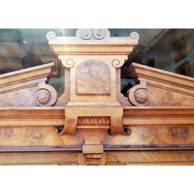Antique 19th Century Palatial Size Burl Walnut Eastlake Victorian Butler's Secretary Desk C1860 For Sale In New York - Image 6 of 13
