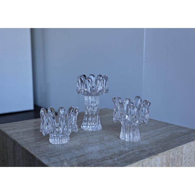 1970s Goran Wärff for Kosta Boda Sunflower Candle Holders - Set of 3 For Sale In Los Angeles - Image 6 of 8