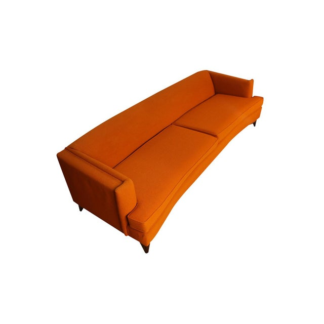 1960s Mid Century Modern Orange Upholstered Curved Sofa For Sale - Image 5 of 12
