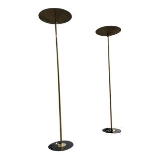 Mid Century Modern Koch and Lowy Brass Torchiere Floor Lamps - a Pair For Sale