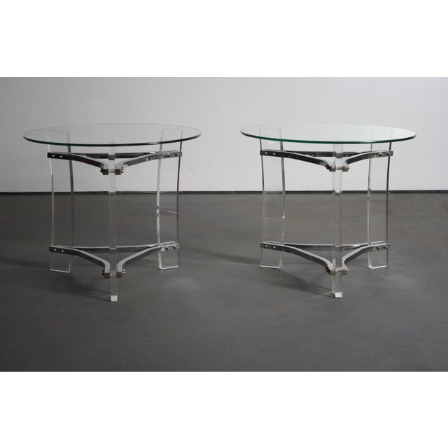 This is a gorgeous set of 2 chrome, lucite and glass end tables by Charles Hollis Jones. One of the lucite legs has a dark...