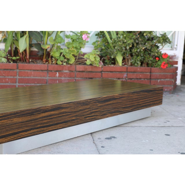 Brown Custom Made Zebra Wood Coffee Table For Sale - Image 8 of 8
