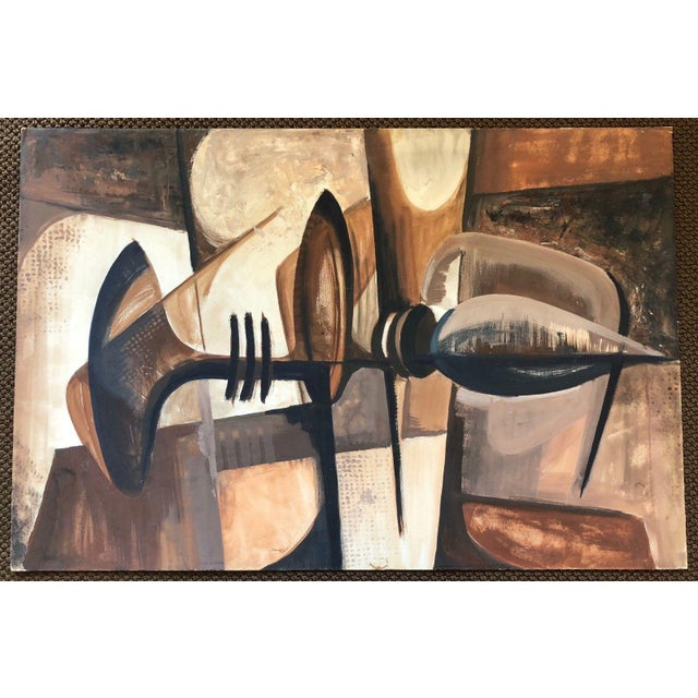Abstract Vintage 1960s Abstract Cubist Shapes Oil Painting For Sale - Image 3 of 10