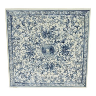 European Porcelain Hand-Painted Blue and White Tile