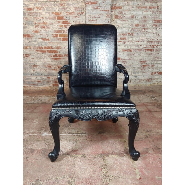 Ralph Lauren -Gorgeous Georgian Armchair W/Black Faux Alligator For Sale - Image 4 of 10