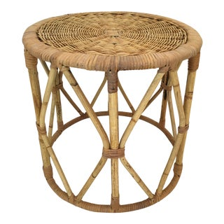 Mid 20th Century Vintage Round Rattan Drum Table With Wicker Top