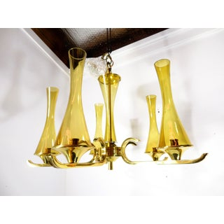 Vintage Mid Century Swedish Brass & Glass Chandelier Pendant Ceiling Lamp Preview