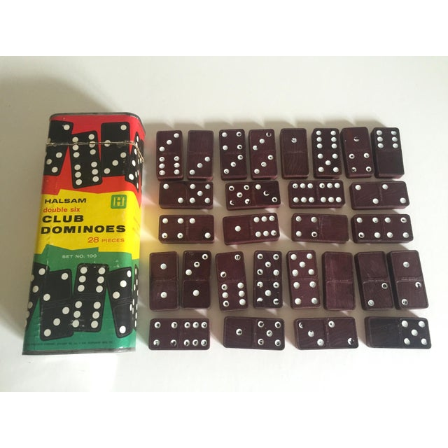 "Vintage Mid-Century 1950's Halsam "" Double 6 Club "" Dominoes Game Box Set For Sale - Image 4 of 5"