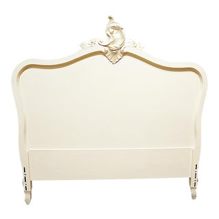 Antique French Country Loius-XV Style Painted Full Headboard For Sale
