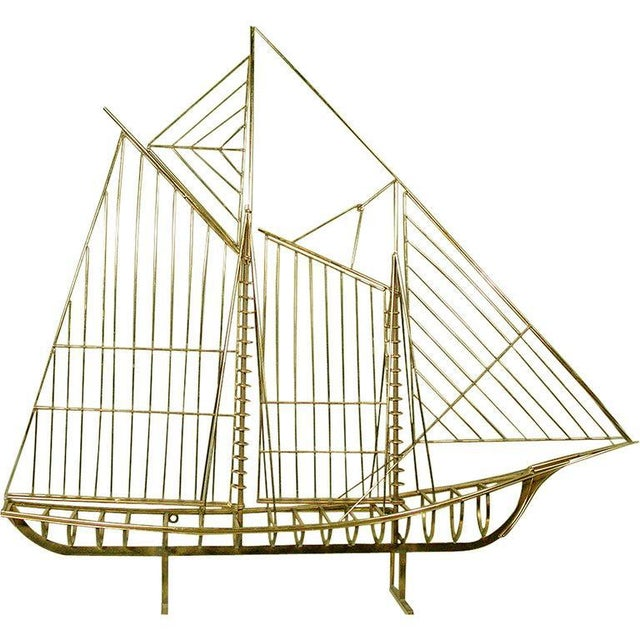 "Curtis Jere ""Skeleton"" Sailboat Wall Sculpture in Brass For Sale - Image 9 of 9"