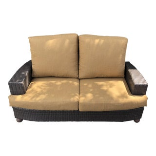 Hularo Outdoor Synthetic Fiber Loveseat W/ Sunbrella Custom Fit Cushions