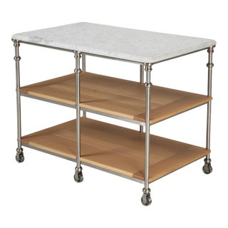 French Industrial Style Kitchen Island For Sale
