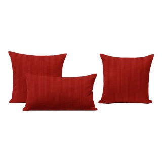 Cherry Outdoor Throw Pillows - Set of 3 For Sale