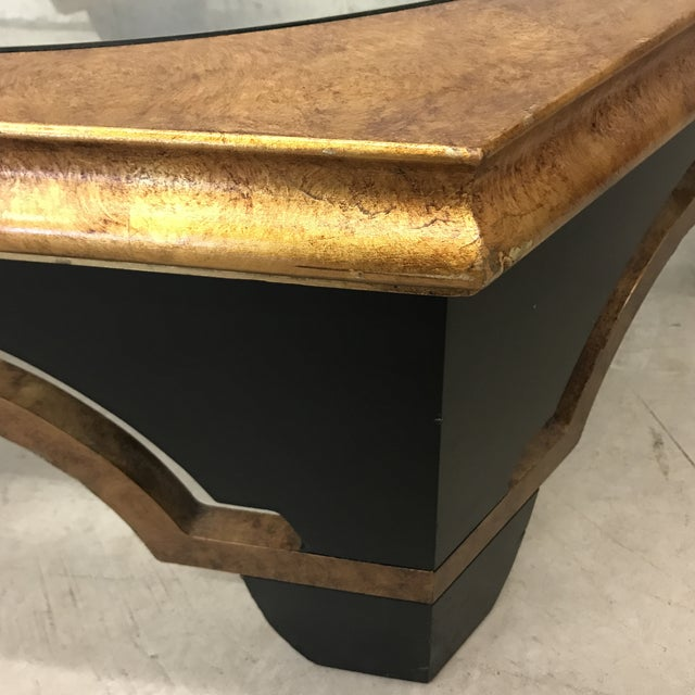 1980s Black Lacquer and Gold Leaf Coffee Table For Sale - Image 5 of 12