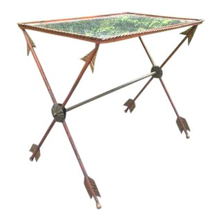 Antique French Neoclassical Arrow Brass Iron Mirrored Table For Sale