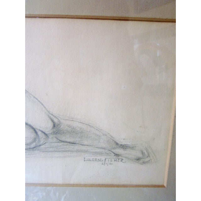 Paper Vintage 1930s Art Deco Nude Portrait Life Figure Pencil Drawing Signed and Framed For Sale - Image 7 of 11