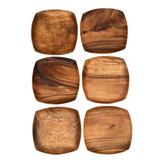 Contemporary Squared Acacia Wood Dinner Plates - Set of 6 For Sale