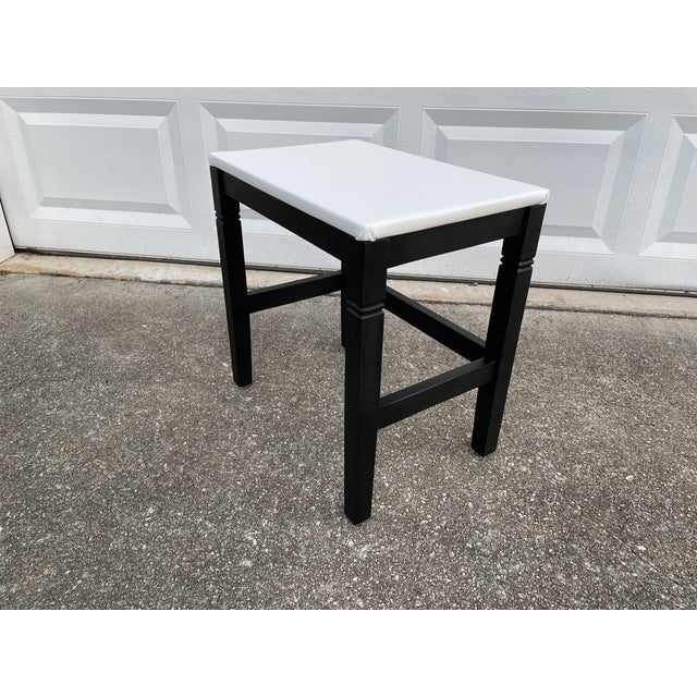 1980s 1980s Vinyl Leather Wrapped Top Side Table For Sale - Image 5 of 10
