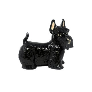 Vintage Ceramic Black Schnauzer Dog