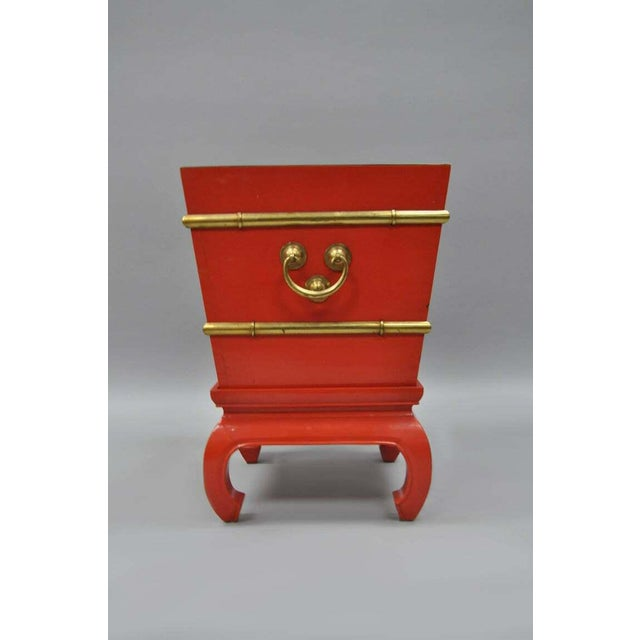 Mid 20th Century Chinoiserie Red Lacquer Oriental Pedestal Planter For Sale - Image 5 of 11