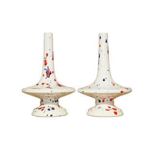 1976 Red, White & Blue Ceramic Candlesticks, a Pair For Sale