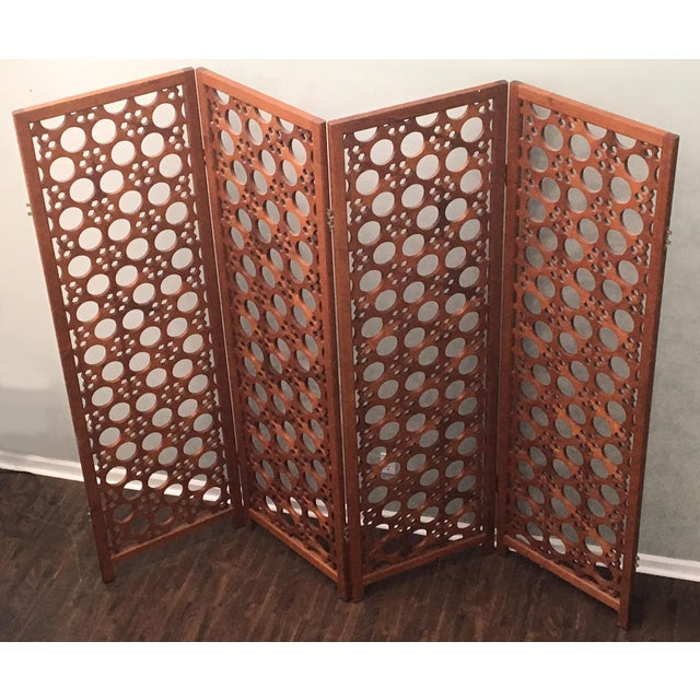 2c0c2380a6b53 Large Vintage McGuire 4-Panel Teak Screen Room Divider For Sale - Image 5 of