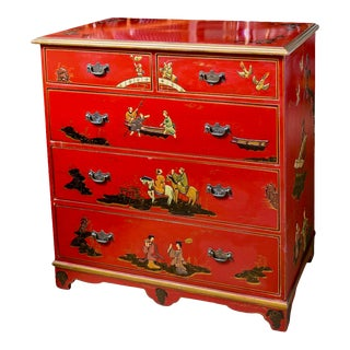 Early 20th. C. Chinoiserie Red Lacquer Chest of Drawers For Sale