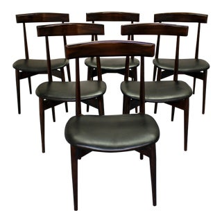 Mid-Century Danish Modern Walnut Floating Seat Dining Chairs - Set of 6