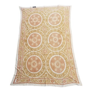 Neutral Suzani Bed Cover Wall Hanging For Sale