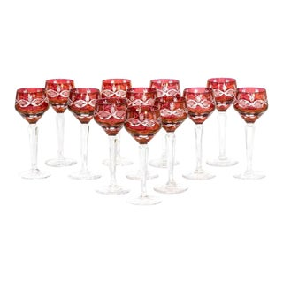 Set of 12 Antique Baccarat Red Rhine Wine Hock Stems For Sale