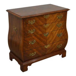 Weiman Kettle Base Vintage Walnut Bombe Chippendale Style Chest For Sale