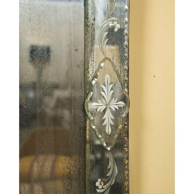 Art Deco German Distressed Venetian Style Mirror Beautifully Cut Crest W/ Etching Detail For Sale - Image 3 of 7
