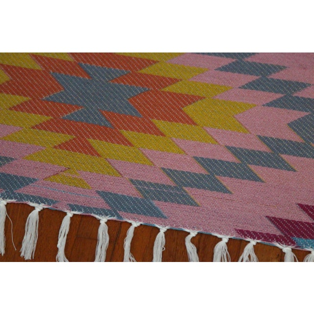 "Reversible Flat Weave Diamond Wool Kilim Rug - 5'3"" x 7'6"" - Image 3 of 8"