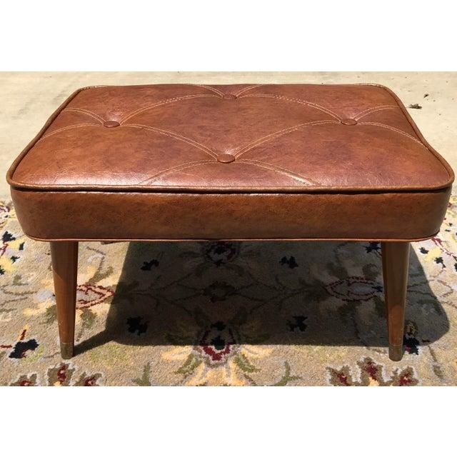 Mid-Century Brown Naugahyde Hassock Footstool - Image 6 of 11