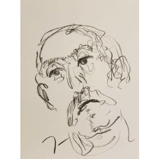 "Jose Trujillo Original Charcoal Fauvism Paper Sketch Drawing - Older Man - 9x12"" For Sale"