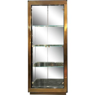 1970s Mastercraft Brass and Black Lacquer Curio Display Vitrine For Sale