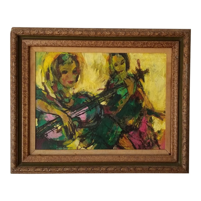 1960 Fran Archdeacon Oil Painting of Two Females With Guitar For Sale