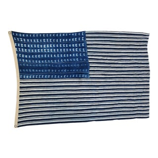 "Boho Chic Indigo Blue & White Flag From African Textiles 57"" X 37"" For Sale"