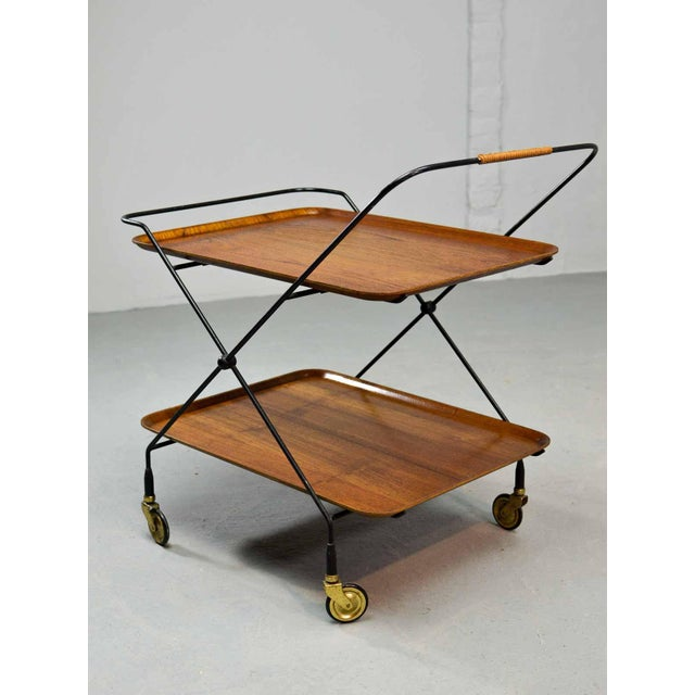 Brass Mid-Century Design Teak and Steel Tea Trolley on Brass wheels by Paul Nagel, Germany 1950s For Sale - Image 7 of 13