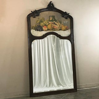 1927 Vistenbing Country French Hand Carved Oak Trumeau Mirror, Signed Preview