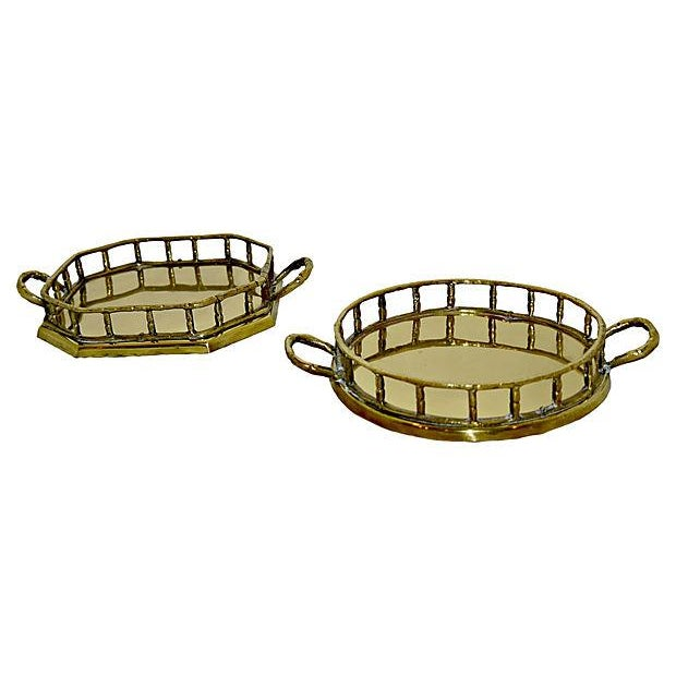 Brass Faux Bamboo Trays - A Pair - Image 1 of 5