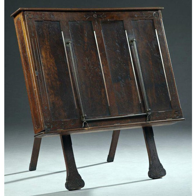 Antique Carved Walnut Folio Cabinet - Image 2 of 3