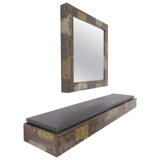 Paul Evans Patchwork Wall-Mounted Mirror and Console For Sale