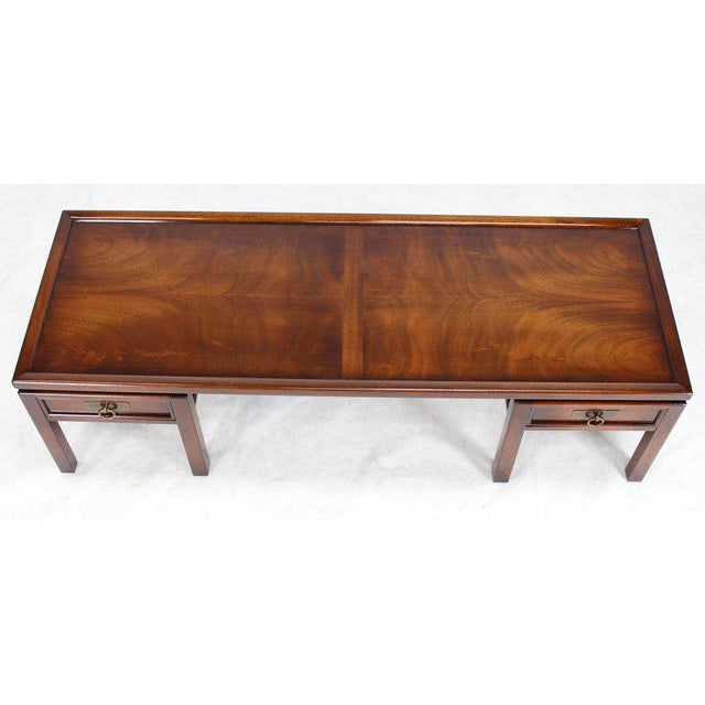 Mahogany Double Pedestal Two Drawers Rectangular Coffee Table For Sale In New York - Image 6 of 8
