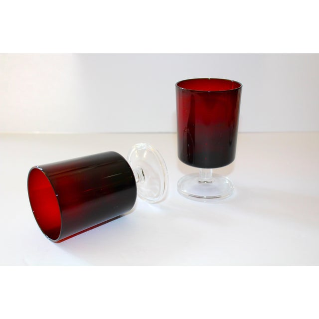 Set of 8 Mid-Century Modern Crystal Wine Glasses in Red, 1960's For Sale - Image 10 of 13