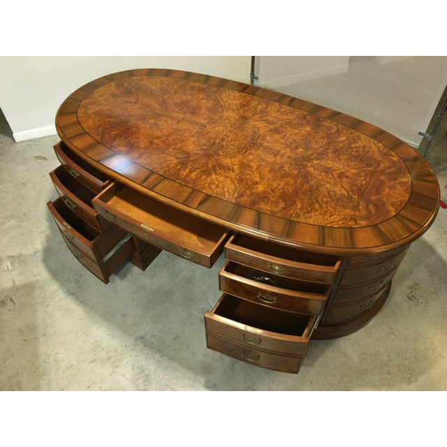 French Provincial Presidential Double Sided Desk - Image 6 of 11