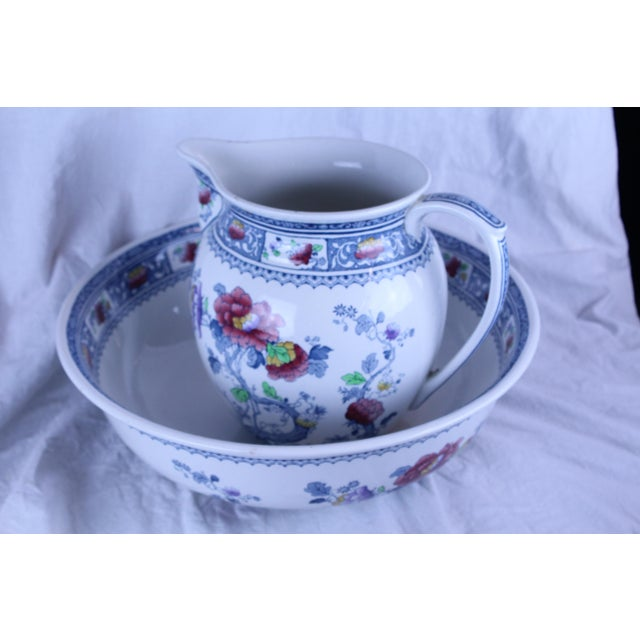 19th Century Traditional Losol Ware Pitcher and Basin - 2 Pieces For Sale - Image 4 of 7