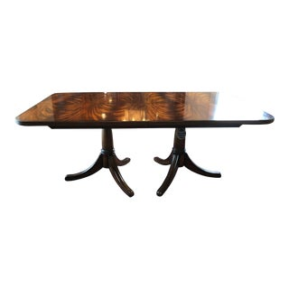 Maitland-Smith Regency Finished Mahogany Two Pedestal Dining Table For Sale