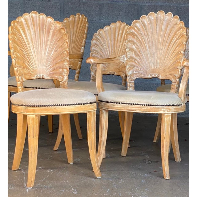 Mid 20th Century Vintage Hollywood Regency Hand Carved Grotto Chairs - Set of 4 For Sale - Image 5 of 7